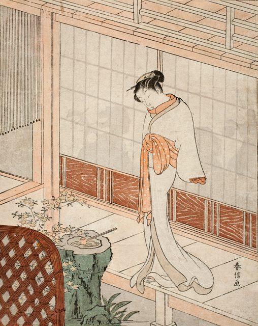 鈴木春信 《縁先美人(見立無間の鐘)》  中判錦絵 明和4年(1767)頃