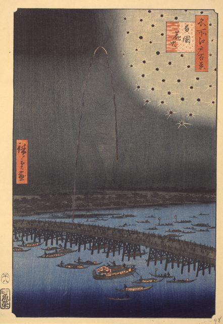 歌川広重《 名所江戸百景 両国花火》  大判錦絵 安政5年(1858)